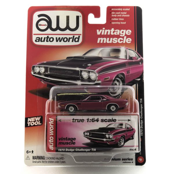 1970 Dodge Challenger T/A kovový model Auto World – M 1:64 (AW64032-4A)