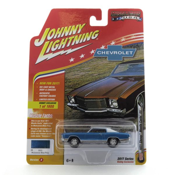 1971 Chevy Monte Carlo SS kovový model Johnny Lightning – M 1:64 (JLMC009-B)