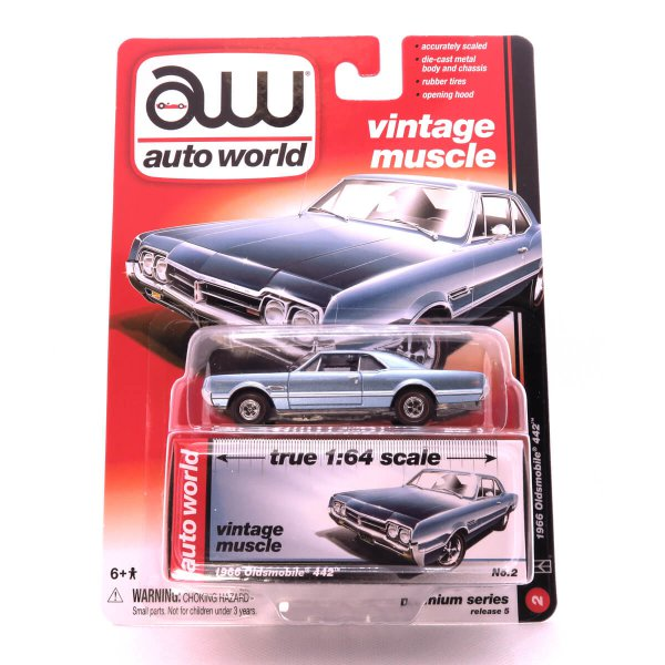 1966 Oldsmobile 442 kovový model Auto World – M 1:64 (AW64042-2A)