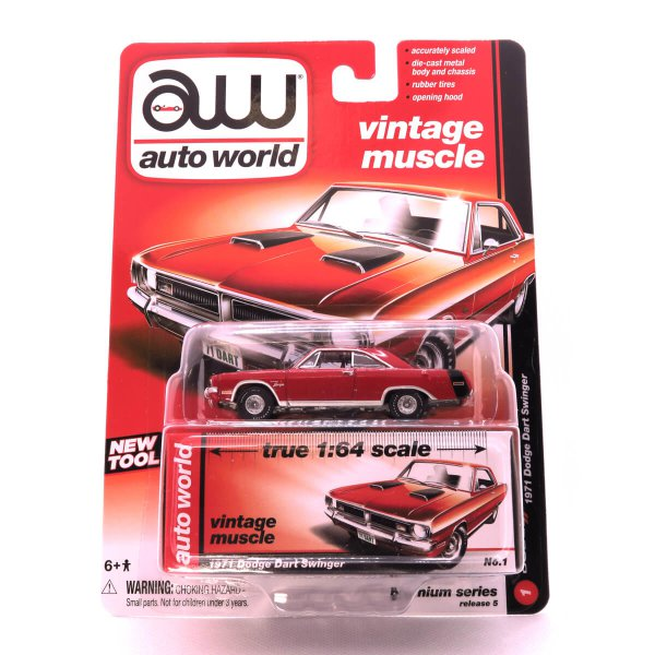 1971 Dodge Dart Swinger kovový model Auto World – M 1:64 (AW64042-1A)