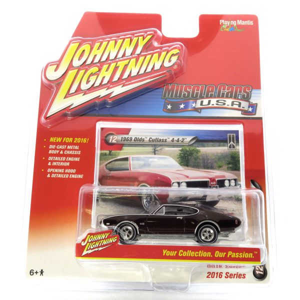 1969 Olds Cutlass 4-4-2 kovový model Johnny Lightning – M 1:64 (JLMC002-12b)